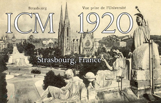 ICM 1920 poster. Picture taken from the roof of the Palais Universitaire.